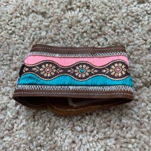 Leather Embroidered Boho Bracelet Cuff